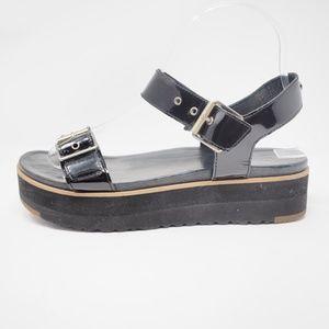 UGG Angie Leather Platform Sandals Black 7.5
